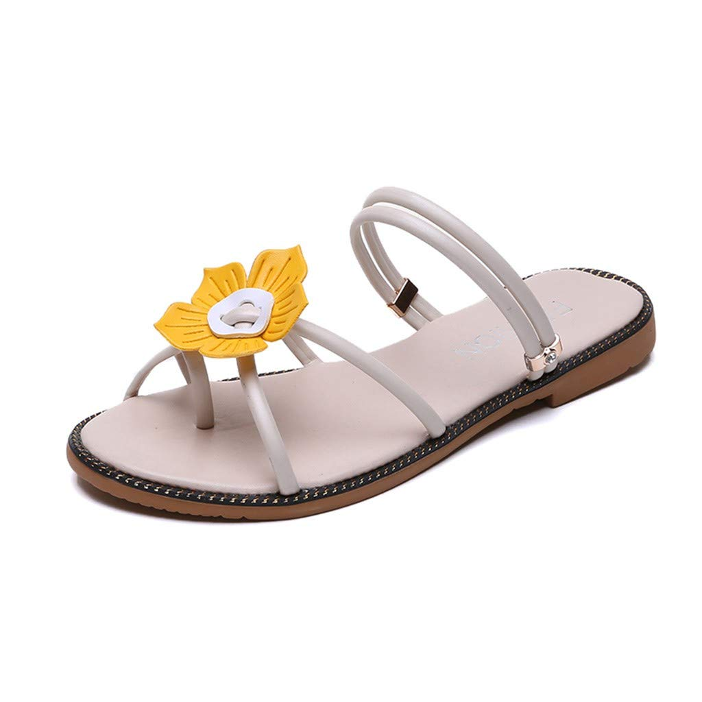 Bohemia Beach Sweet Sandals for Women - FAPIZI Ladies Open Toe Flower Two Wear Shoes Casual Flat Rome Shoes Sandals Beige by FAPIZI Women Shoes