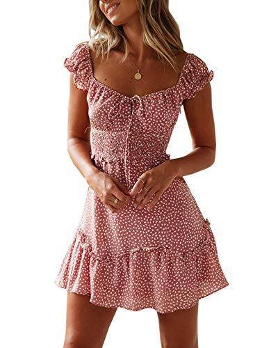 - Yobecho Womens Summer Ruffle Sleeve Sweetheart Neckline Printing Dress Mini Dress Red