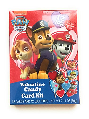 Valentine's Day Happy Candy Card Kit Paw Patrol 12 Cards and 12 Lollipops with 25-ct. Packs of Valentine's Heart-Themed Treat Bags Bundle (Set of 3)