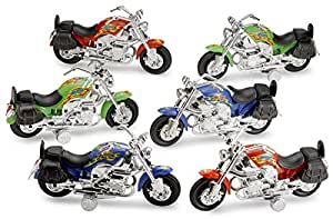 Large Pull Back Friction Motorcycles Toys 6 Piece 7 Inch Racer Vehicle - For Kids In Assorted Colors - Great Party Favor, Prize, Gift – By Kidsco