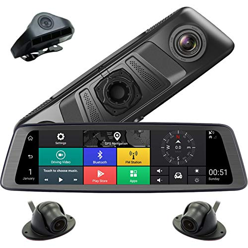 "LPWCAWL Rear View Mirror Dash Cam, 1080P HD Driving Recorder, Car Camera with 4 Lens and 10"" Touch Screen, G-Sensor, WDR, Loop Recording, Parking Monitoring, Reversing Video, Motion Detection"