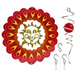 Metal Wind Spinner - Sunrise Red - Hanging Spinner with Helix Spiral Tail and Glass Ball - All Swivels and Hooks are Included - Kinetic Whirligig Garden Sculpture for Patio Deck or Yard