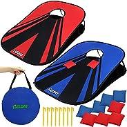 JOYIN Portable Cornhole Game Set, Collapsible Cornhole Game Boards (3 Feet x 2 Feet), Red and Blue Cornhole Bo