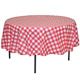 Exquisite 12 Pack Premium Round Plastic Checkered BBQ Tablecloth - Red & White Gingham Checkerboard Disposable Plastic Tablecloth 84 inch. Round
