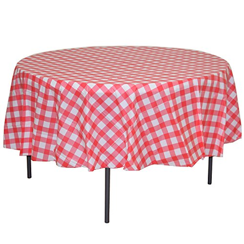 Exquisite 12 Pack Premium Round Plastic Checkered BBQ Tablecloth - Red & White Gingham Checkerboard Disposable Plastic Tablecloth 84 inch. -