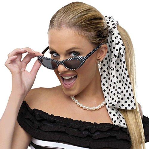 Fun World Women's Retro 50s Bobby Soxer Costume Sunglasses Hair Accessory Kit, Multi, Standard by Fun World