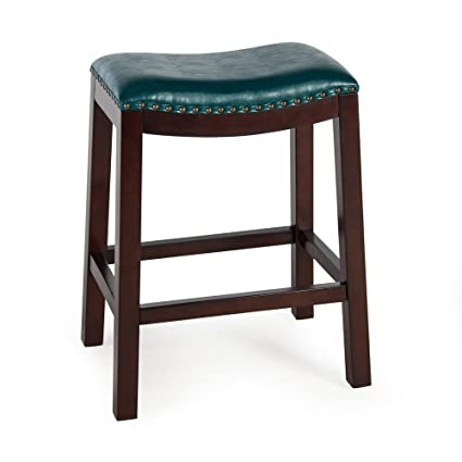 Amazon Com Counter Bar Stools Bistro Teal Backless Wood Chairs