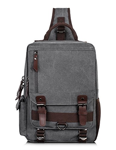 H Hikker-Link Canvas Messenger Bag for Men Laptop Sling Backpack Gray Vintage