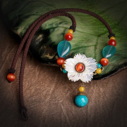 Generic National_Wind_ retro women girl short _paragraph_ clavicle chain necklace pendant _shell_ flower decorative jade pendant necklace personalized jewelry _neck Flowers Jade Necklace