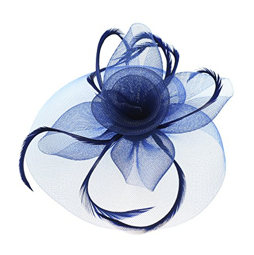Urban CoCo Women's Vintage Flower Feather Mesh Net Fascinator Hair Clip Hat For Party Wedding (Navy Blue)