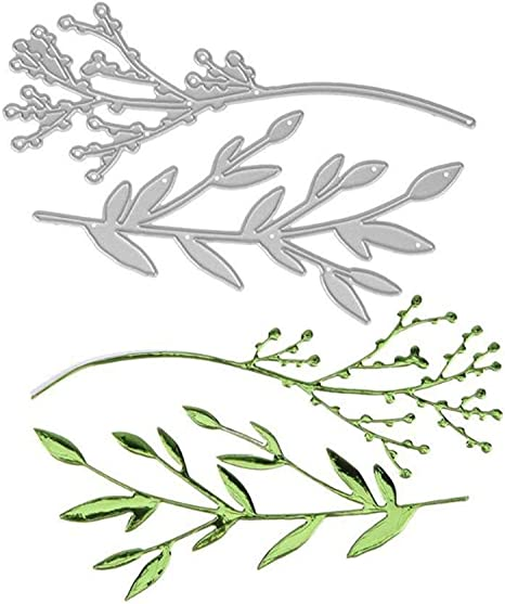 Cutting Die,Branch Leaves Metal Cutting Dies DIY Scrapbooking Paper Cards Album Art Stencil Silver