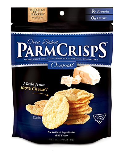Flavor, Gourmet Snack Made From 100% Real Parmesan Cheese, Wheat Free, Gluten Free, Sugar Free, 1.75oz Bag, Pack of 12 (Parmesan Crisps)