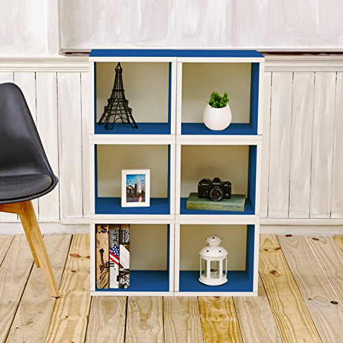 Way Basics Eco Stackable Modular Storage Cubes Cubby Organizer (Set of 6), Blue (Tool-Free Assembly and Uniquely Crafted from Sustainable Non Toxic zBoard paperboard)