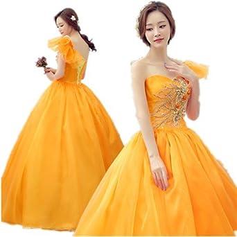 02143597c0d79 オレンジ カラードレス 二次会ドレス パーティードレス ウェディングドレス 演出舞台 発表会 演奏会用