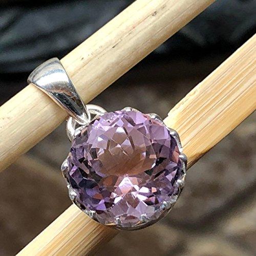 Natural 4ct Rose de France/Purple Amethyst 925 Solid Sterling Silver Designer Pendant