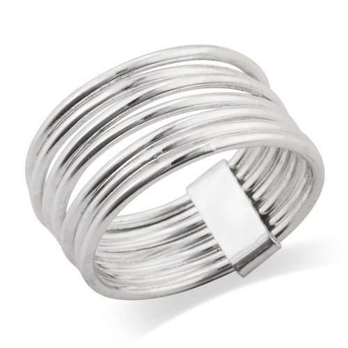 (925 Sterling Silver 7 Day 7 Band Stacked Ring - Size 6)