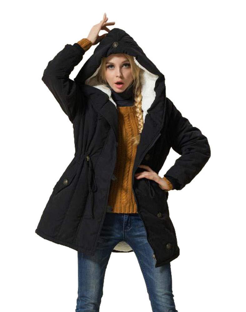 Eleter Women's Winter Warm Coat Hoodie Parkas Overcoat Fleece Outwear Jacket with Drawstring (3X-Large, Black) by Eleter