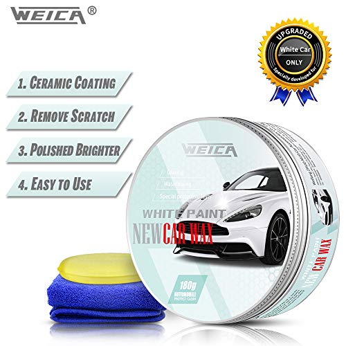 WEICA White Car Wax for White Car Special Wax Scratches Cover Waterproof Wax Anti-Fade Car Care Wax Paste 180g with Free Waxing Sponge and Towel-White (The Best Car Wax For White Cars)