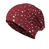 TOOPOOT Skull Caps Men Star Indoors Cotton Slouchy Beanies Soft Knit Slouchy Cap Skull Hat Cap (Red)