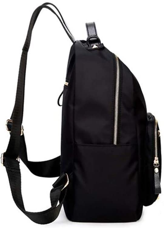 HLJ Anti-Theft Outdoor Travel Backpack Personality Female Backpack Fashion Nylon Student Bag Color : Black, Size : 251231cm