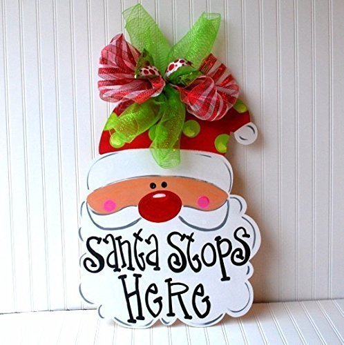 Santa Stops Here Outdoor Decoration Sign for Front Door