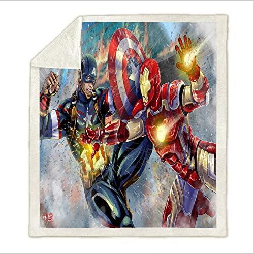 lss Couverture Animale Bureau Durable Iron Man Couverture Cartoon Cartoon Garçon Maternelle Hiver Drap de Lit Multifonctionnel