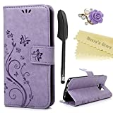 Mavis's Diary Galaxy S6 Edge Case Book Wallet PU Leather Magnetic Flip Case Butterfly Flower Embossing Cover with Card Slots/Stand Dust Plug &Stylus Pen Pen Violet Not for Galaxy S6 or S6 Edge Plus