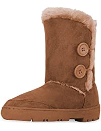 Womens Twin Button Fully Fur Lined Waterproof Winter Snow Boots
