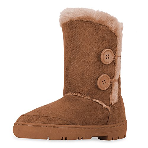 CLPP'LI women snow boots Button Fully Fur Lined Waterproof Winter Snow Boots-Tan-9