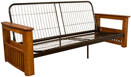 Chicago Storage Arm Style Futon Sofa Sleeper Bed Frame, Queen-size, Medium Oak Arm Finish