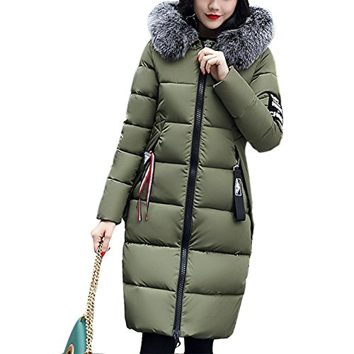 Rela Bota Women's Winter Thicken Puffer Coat Fur Trim Hooded Long Down Parka Jacket Overcoat Large Army Green - Fur Trim Long Hooded Coat