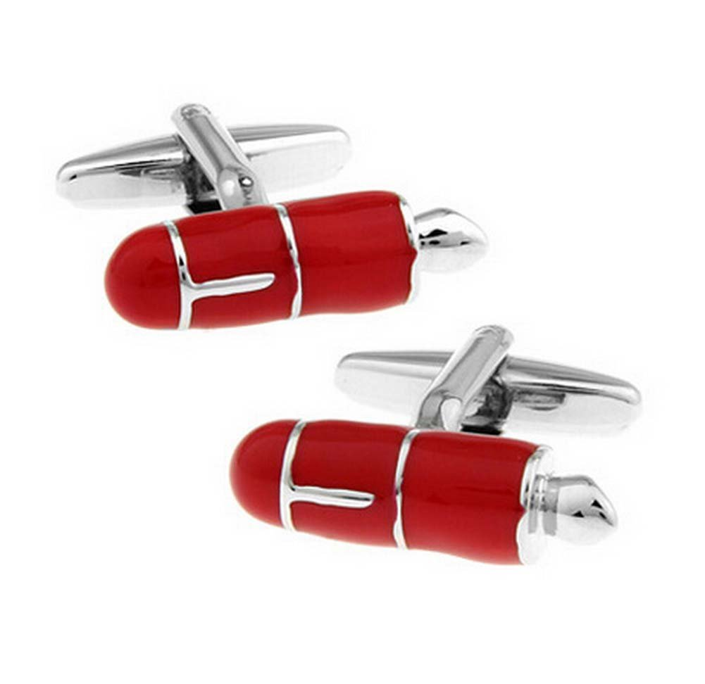 Hosaire Cufflinks Men's Pen Shape Cuff Link Delicate Cuff-link for Wedding Business Red