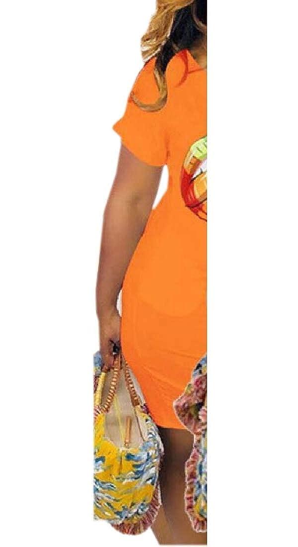 Tymhgt Womens Fashion V Neck Short Sleeve Rainbow Lip Print Cute Printed Mini Dress
