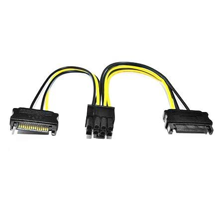 Noradtjcca 18 AWG 20cm Doble 15Pin SATA a 8Pin PCI-E Express ...