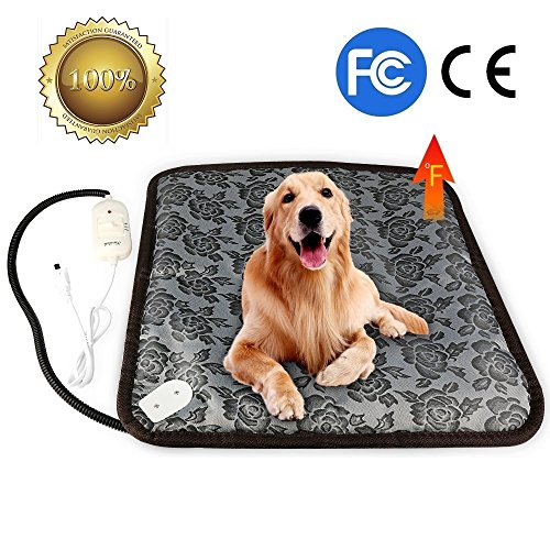 Pet Heating Pad, YQW Dog Cat Electric Heating Pad Indoor Waterproof Adjustable Warming Mat with Chew Resistant Steel Cord 17.7