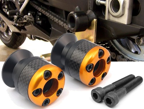 gold CNC Aluminum Carbon Fiber Swing Arm Spool Sliders Protector Fit For Yamaha FZ8 2011 (Carbon Fiber Swing Arm)