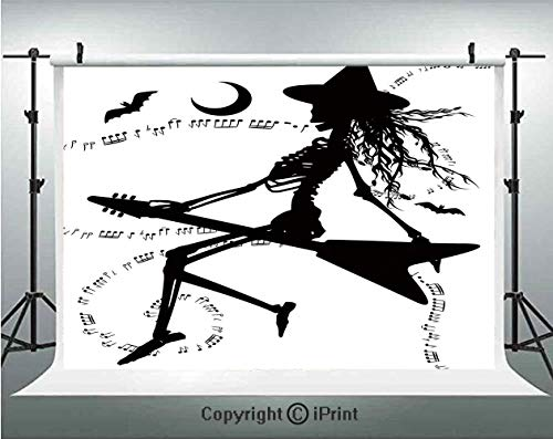 Music Photography Backdrops Witch Flying on Electric Guitar Notes Bat Magical Halloween Artistic Illustration,Birthday Party Background Customized Microfiber Photo Studio Props,8x8ft,Black White ()