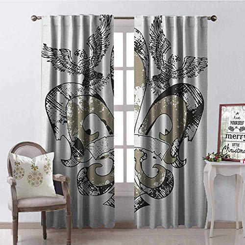 - Gloria Johnson Fleur De Lis Blackout Curtain Eagles on Fleur De Lis Emblem Power Symbol Victorian Creative Illustration 2 Panel Sets W52 x L95 Inch Tan White