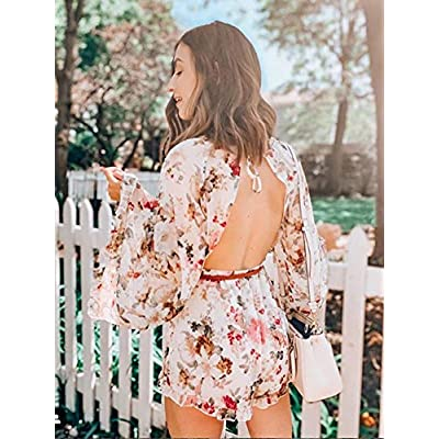 ROMWE Women's Floral Printed Ruffle Bell Sleeve Loose Fit Jumpsuit Rompers: Clothing