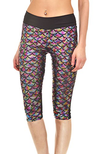 Pink Queen Women's Leggings Capri Pants Fish Scale Print Cropped Tight,pattern 10,Small