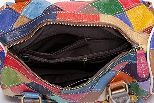 … donna le Floral plaid Crossbody Borse colorati spalla vera Borse Totes pelle Hobo donne 2 borse Da multicolore in per Greeniris Uxn5q5