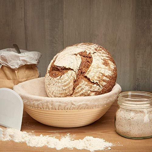 Brot form Unbleached Natural Cane Bread Baking Kit With Cloth Liner Globalflashdeal Round Banneton Proofing Basket Set
