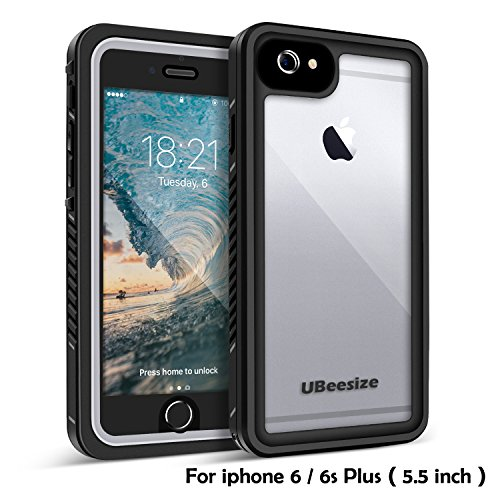 Price comparison product image Waterproof case for iPhone 6 Plus and 6s Plus, UBeesize Transparent Shockproof Underwater Cover Full Body Protective Drop Resistant Heavy Duty Case for iPhone 6 Plus and 6s Plus (5.5in)