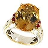 Michael Valitutti Palladium Silver Oval Citrine & Orange Sapphire Ring