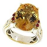 Michael Valitutti Palladium Silver Oval Citrine & Orange Sapphire Ring