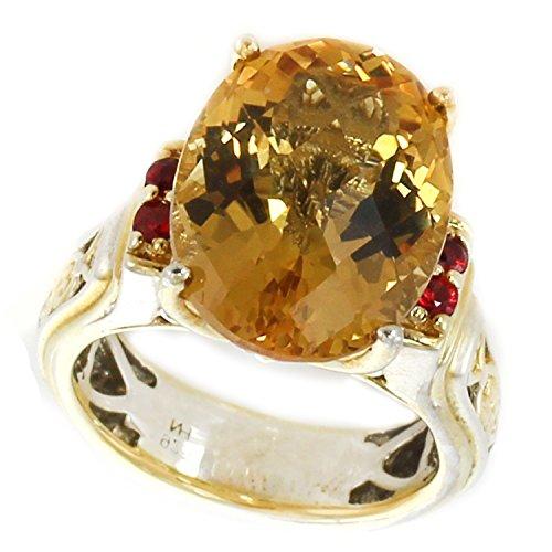 Michael Valitutti Palladium Silver Oval Citrine & Orange Sapphire Ring by Michael Valitutti