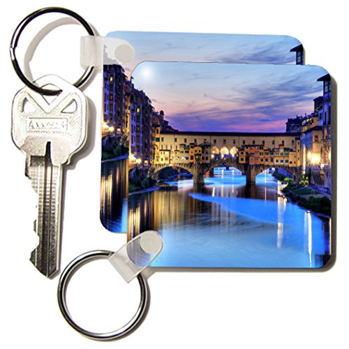3dRose Florence, Italy water and bridge, dusk - Key Chains, 2.25 x 4.5 inches, set of 2 - Photographs Florence