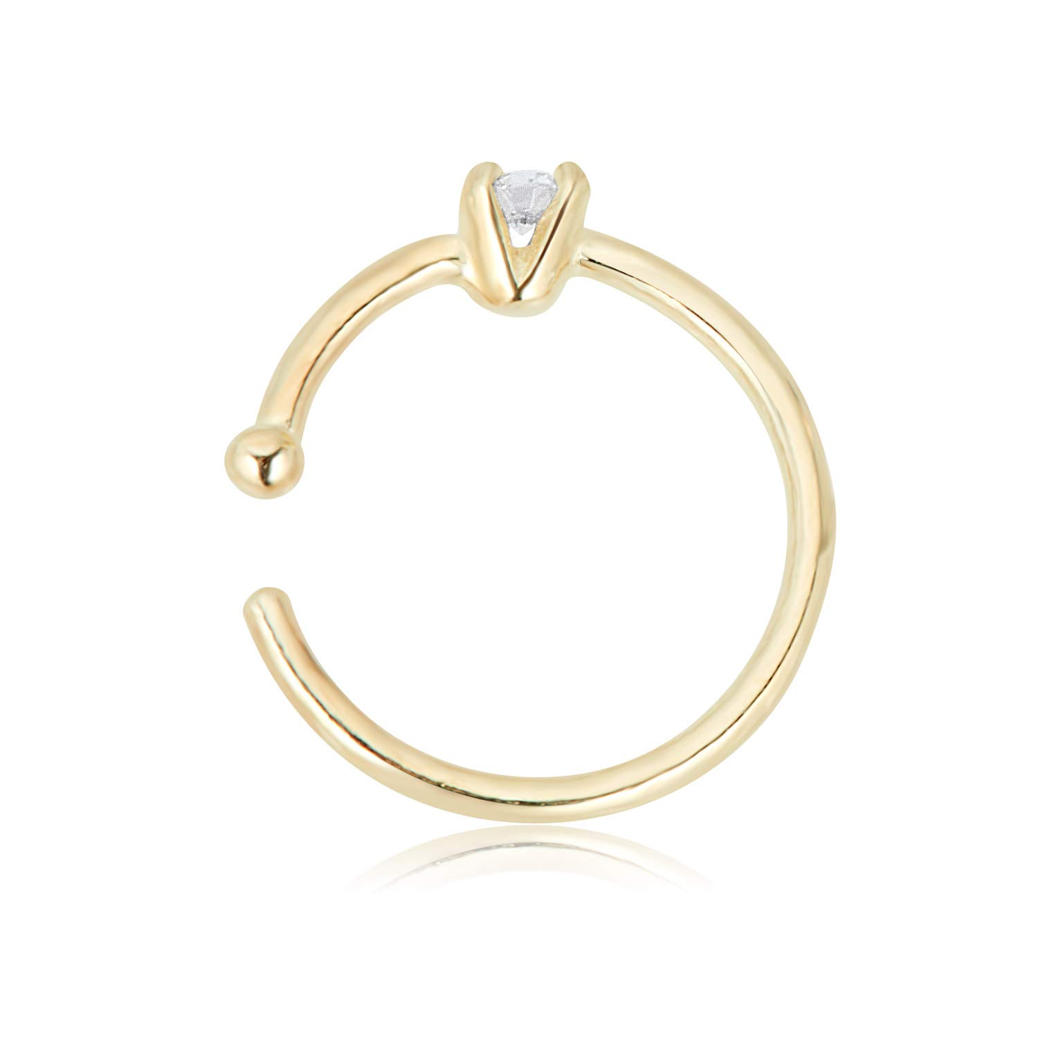 AVORA 14K Yellow Gold 2mm Simulated Diamond CZ Nose Hoop Ring - 20 Gauge by AVORA (Image #2)
