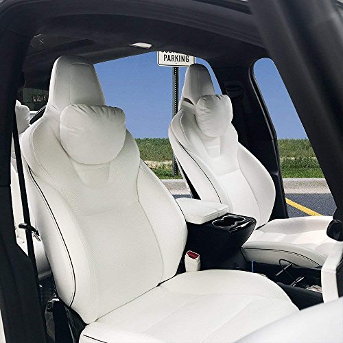 - Car Breathable Automotive Seat Neck Cushions, Head Support Neck Travel Pillow Compatible Model S Model X Model 3(White, 2 Units for Front Seater)