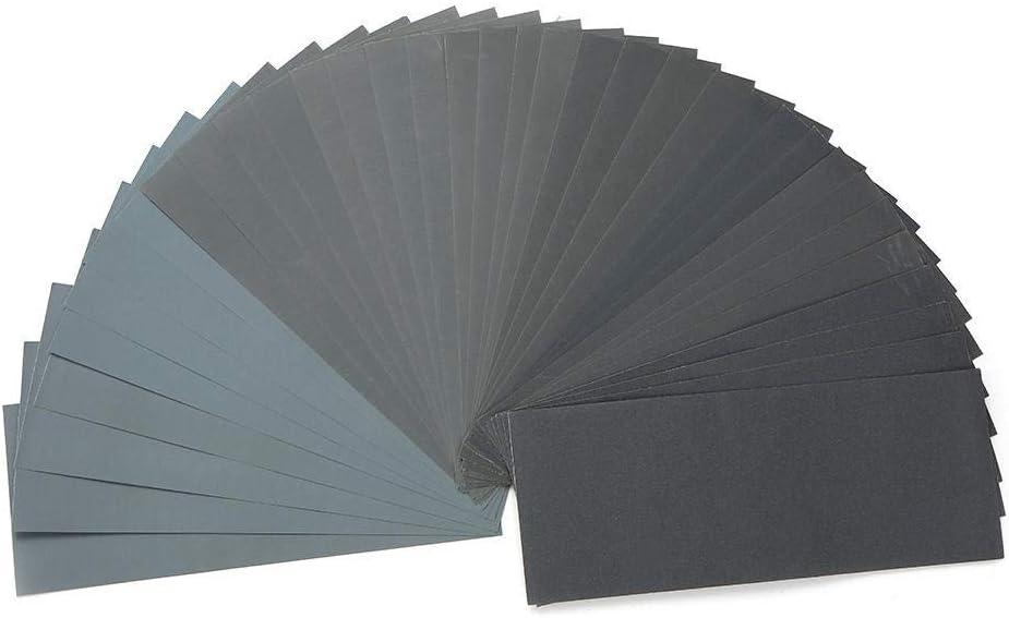 CHUNSHENN 36pcs Polishing Abrasive Waterproof Paper Sheets Sandpaper Set 120-3000 Grit Wet And Dr Sandpaper Grinding and Polishing Abrasive Accessories